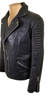Bubble Textured Biker style Leather Jacket