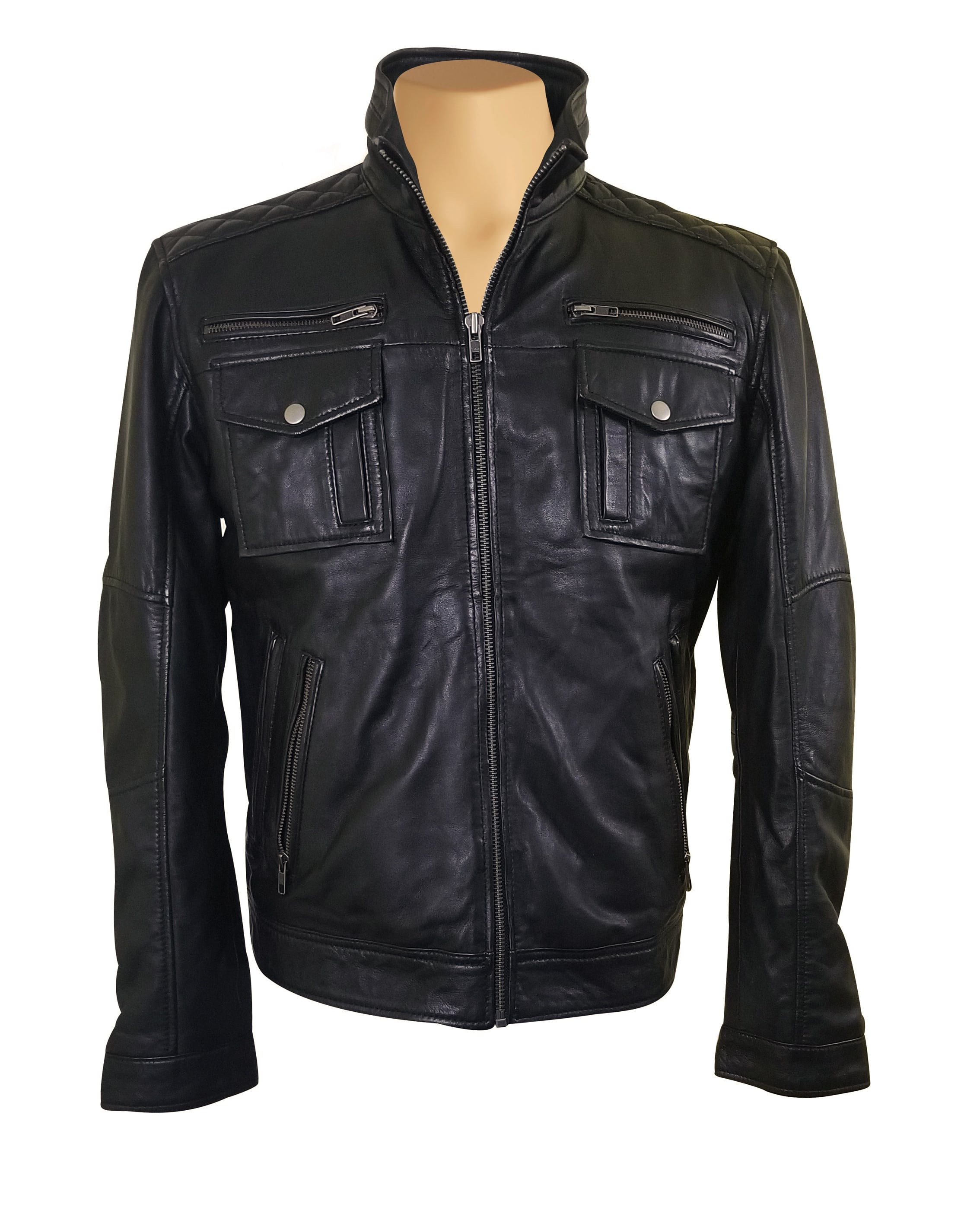 Benson zip up leather jacket with flap pockets