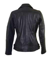 Michaela Biker style leather jacket with snap button closure