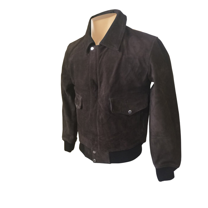 Bernard's Dark Brown Bomber Style Leather Jacket