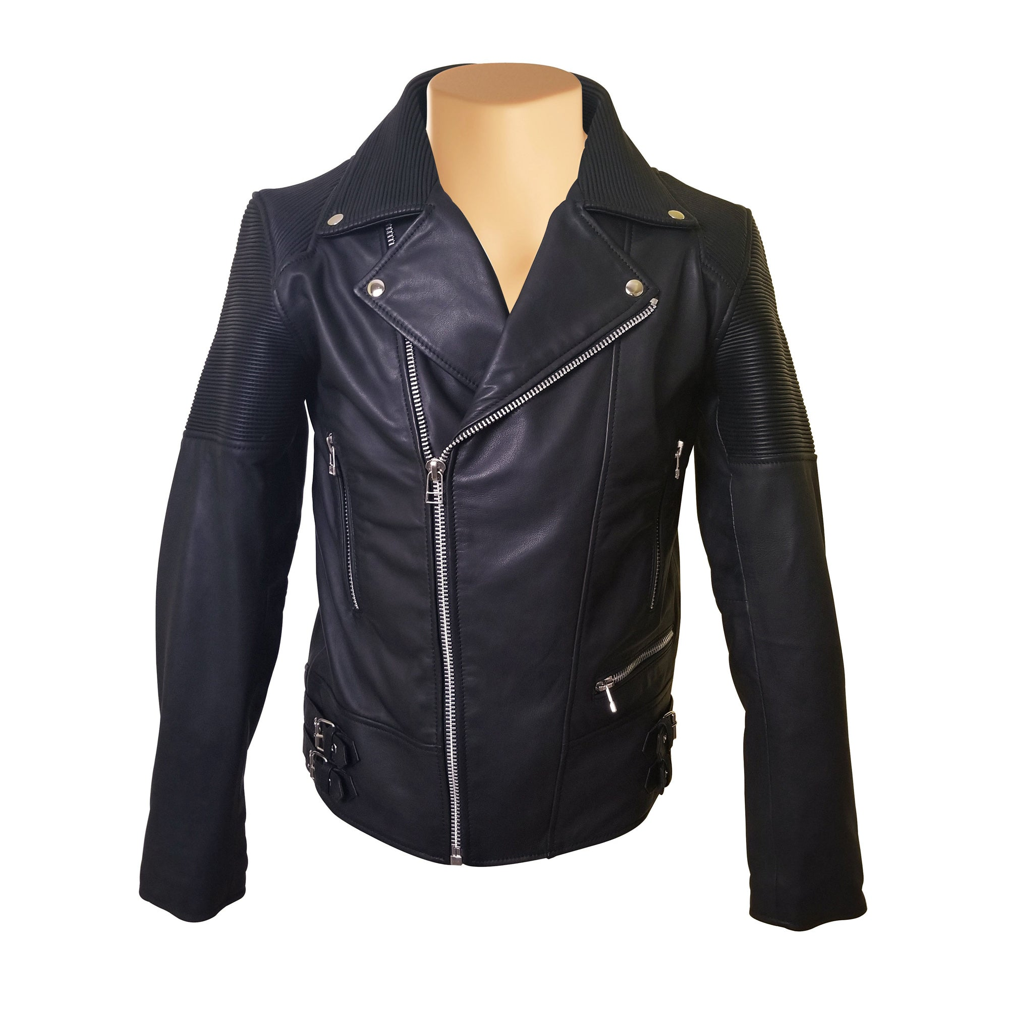 Brett's biker style leather jacket with stretchy leather