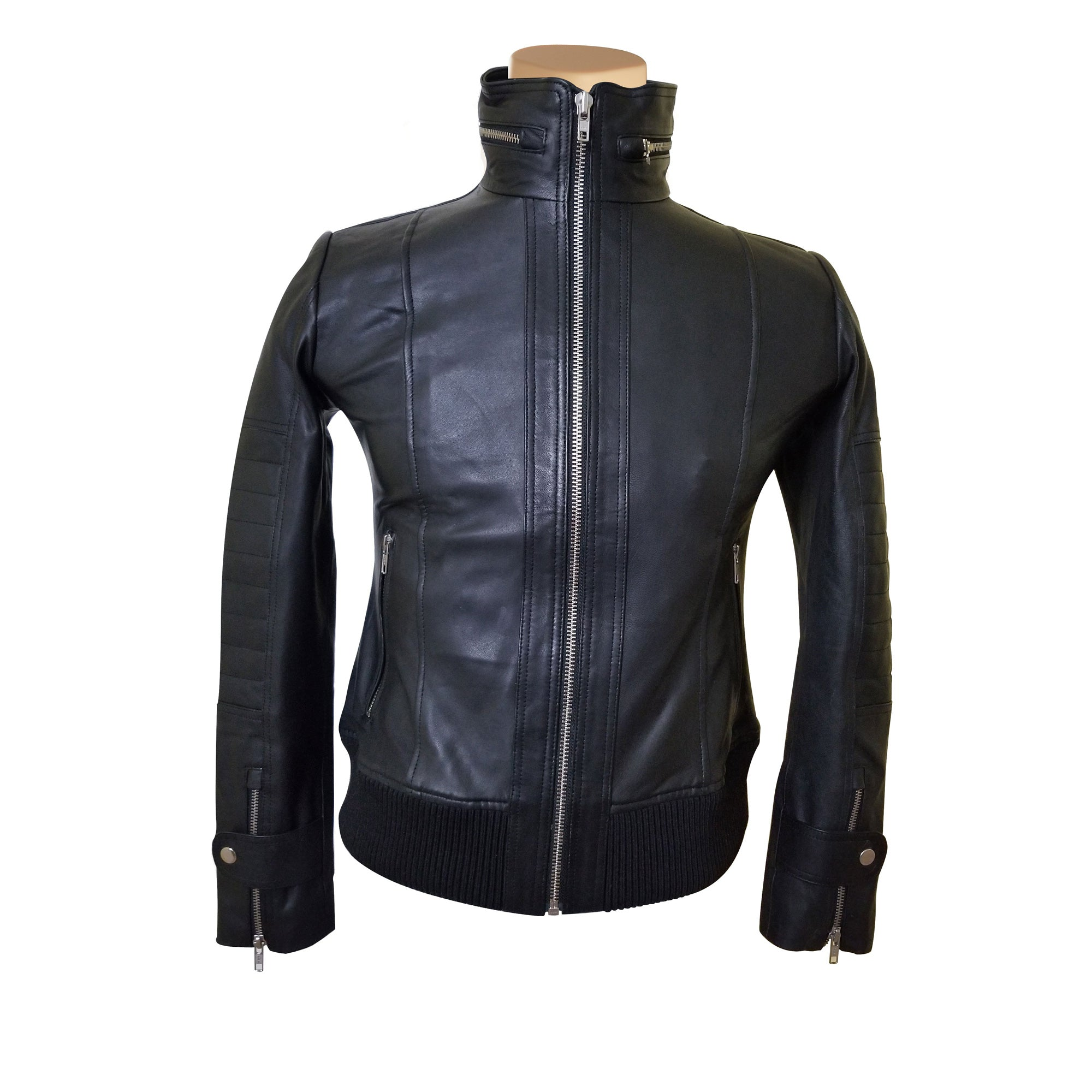 Olof's black leather jacket with straight collar