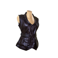Teejays stylish leather vest with waist belt