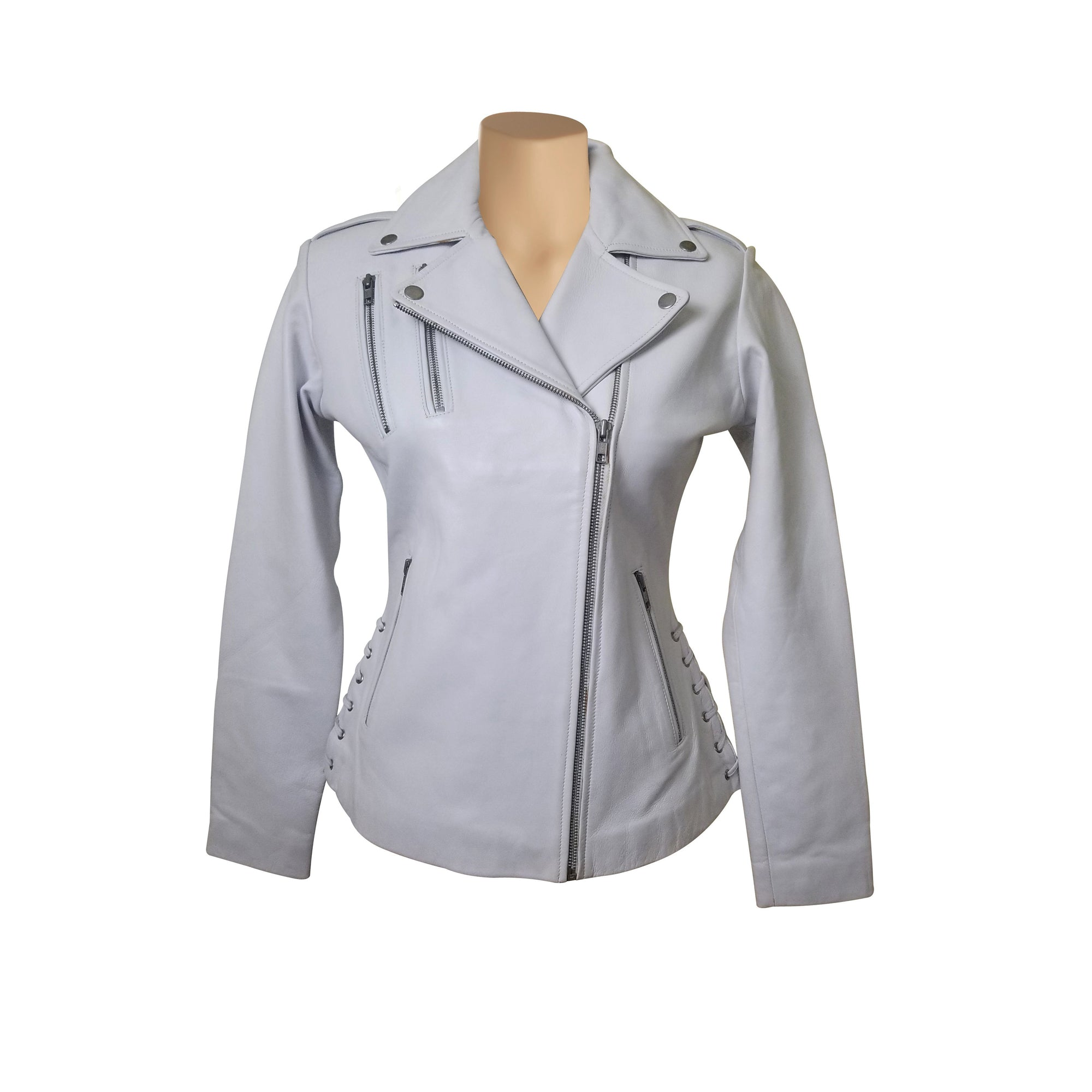 Callie's white biker style leather jacket