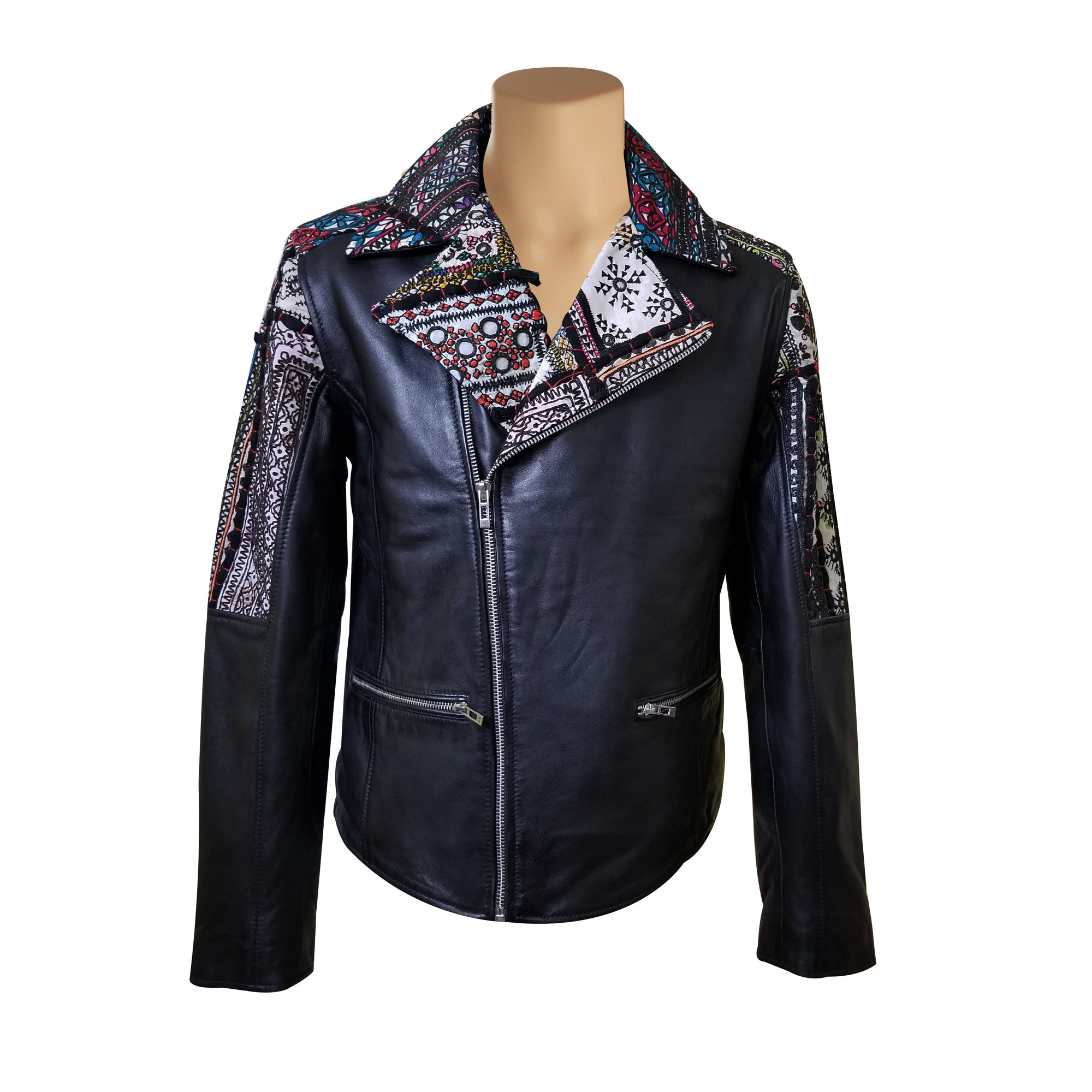 Bohemian Leather jacket with Tribal Hand Embroidered Fabric