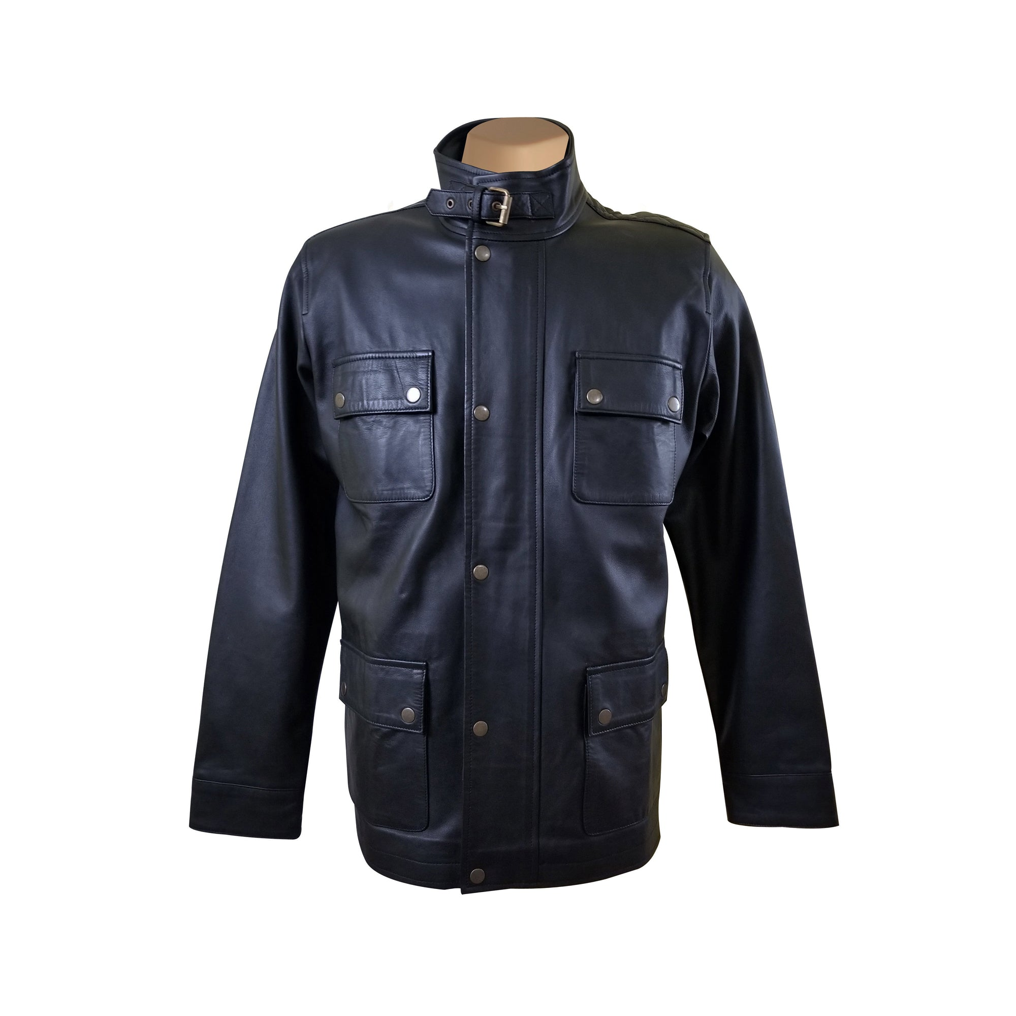Mosley's leather jacket with collar belt