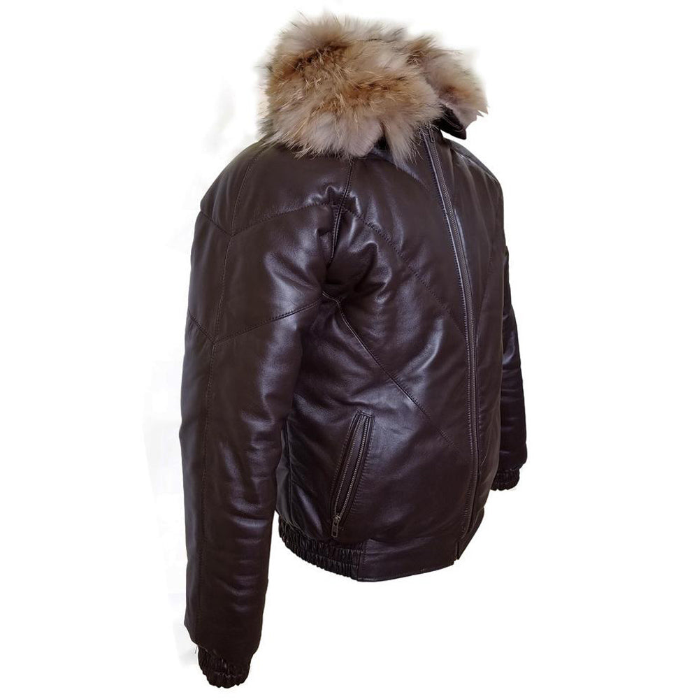 Brown V-Bomber style Puffer Winter Leather Jacket with fur collar