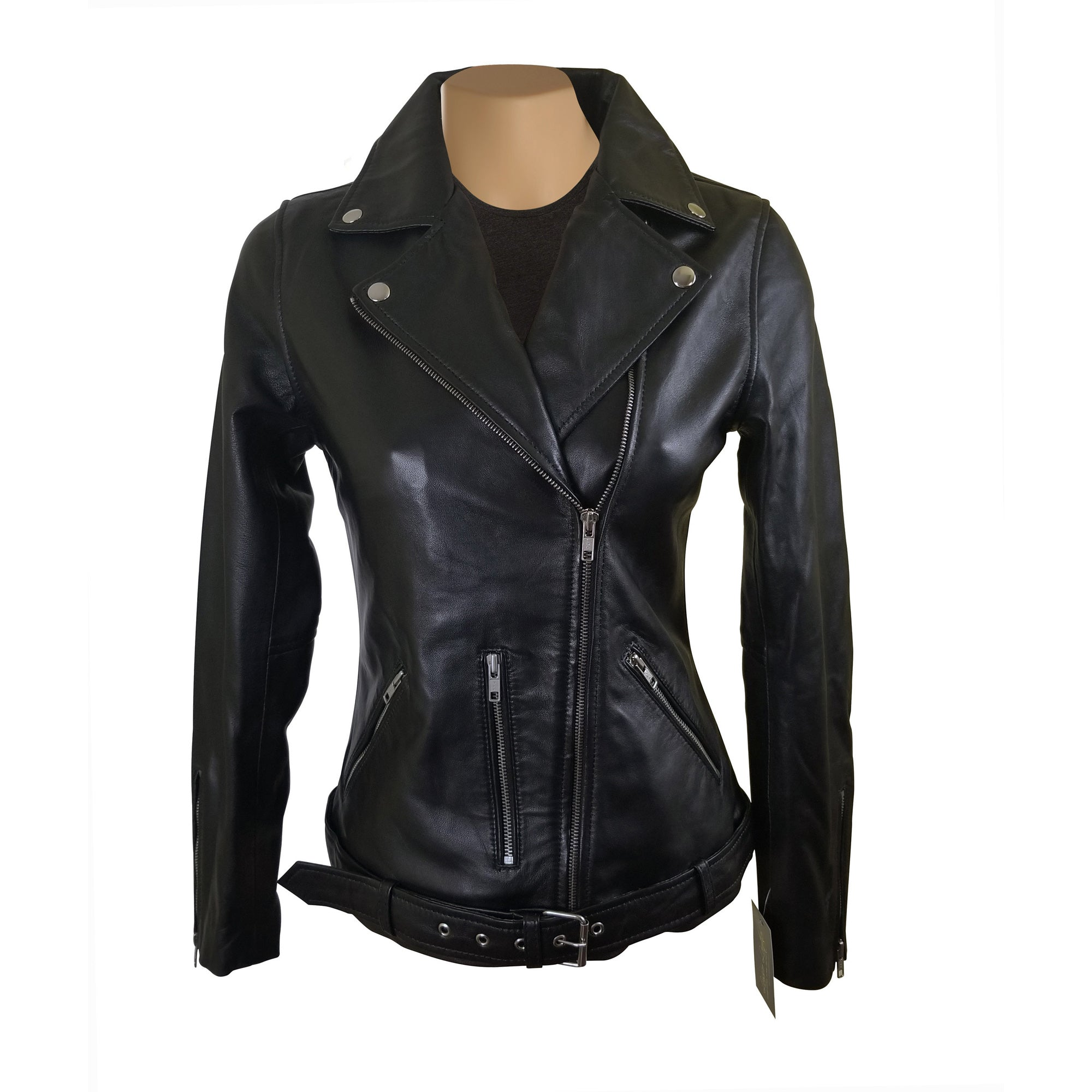 Emilie's black biker style leather jacket with waist belt