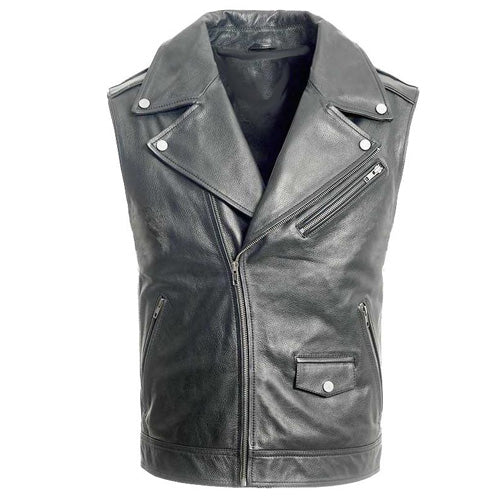 Plain biker leather vest - Lusso Leather - 1