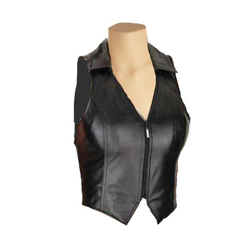Collared leather vest - Lusso Leather