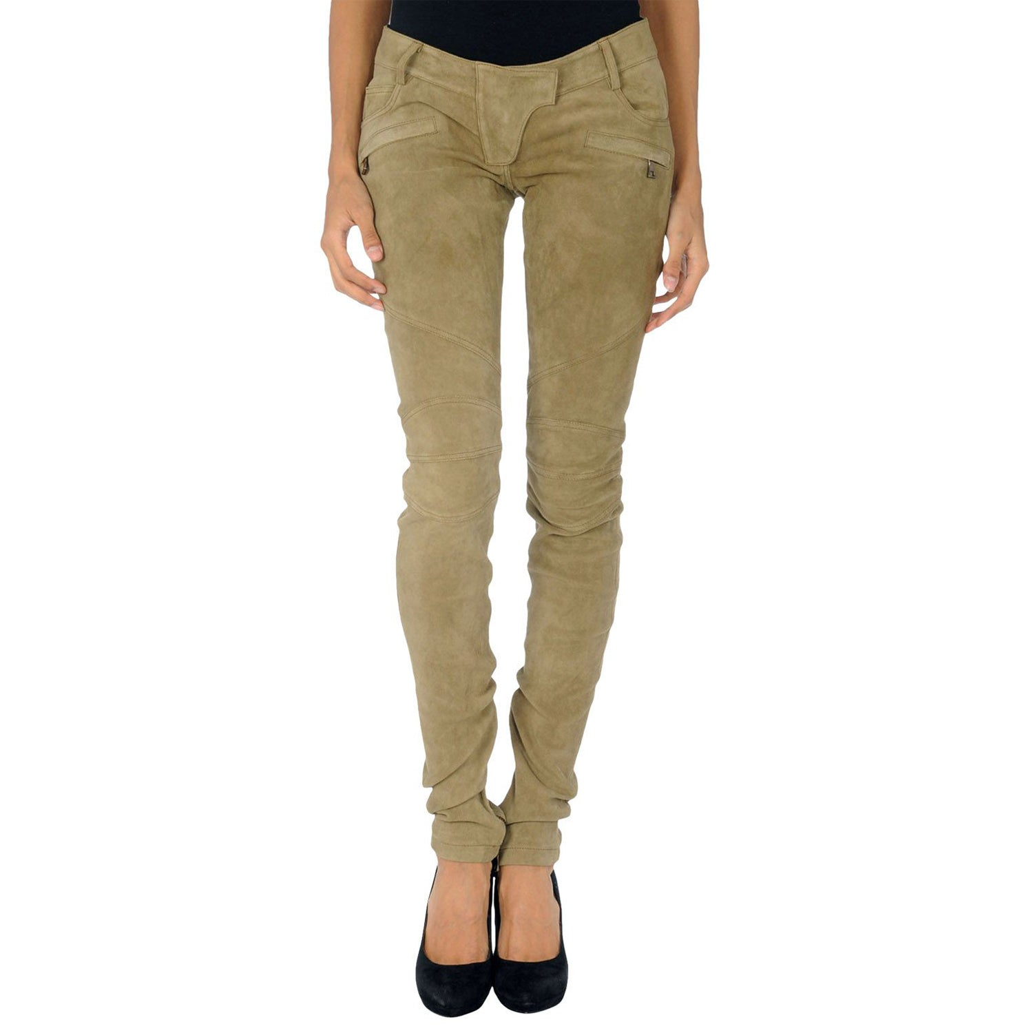 Beige Suede leather pants - Lusso Leather - 1