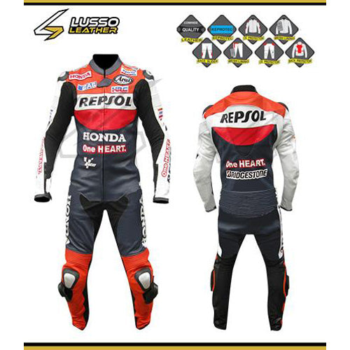 Honda's black, red and white motorcycle leather suit