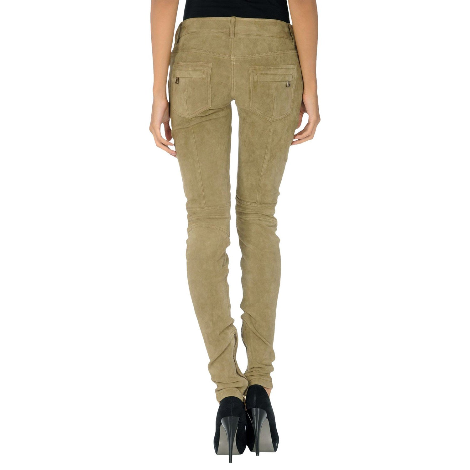 Beige Suede leather pants - Lusso Leather - 2
