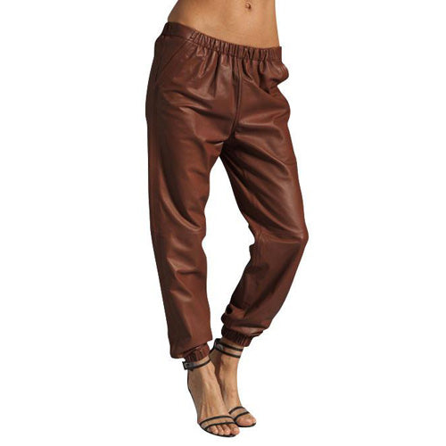 Tan brown Alladin's leather pants (style #9) - Lusso Leather - 1