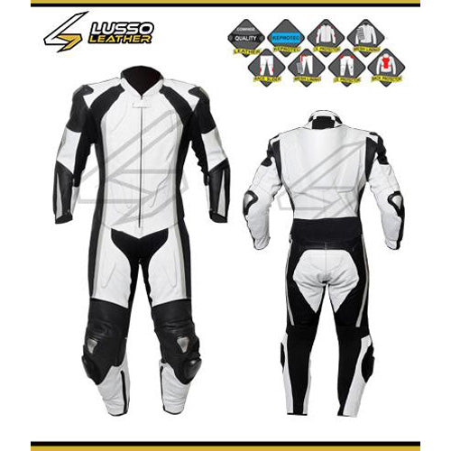 Rowe's white and black motorcycle leather suit