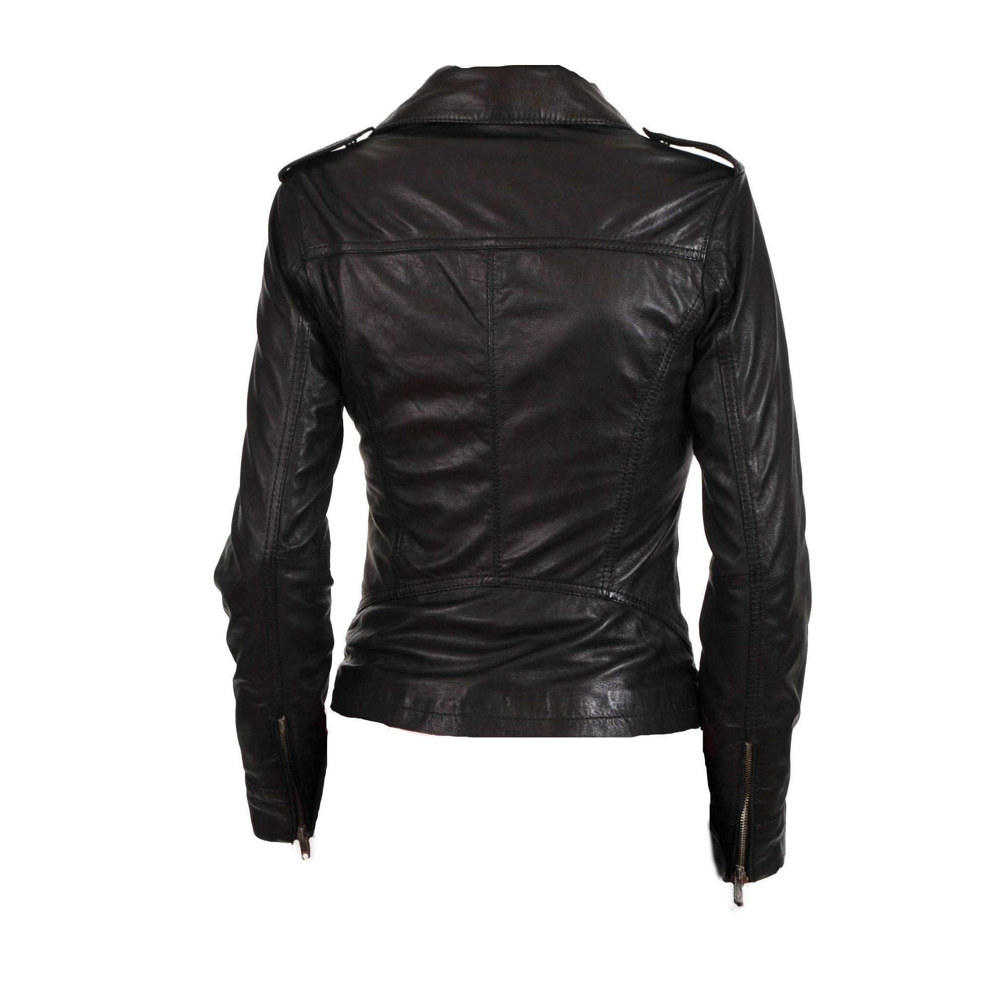 Women's classic biker style leather jacket - Lusso Leather - 2