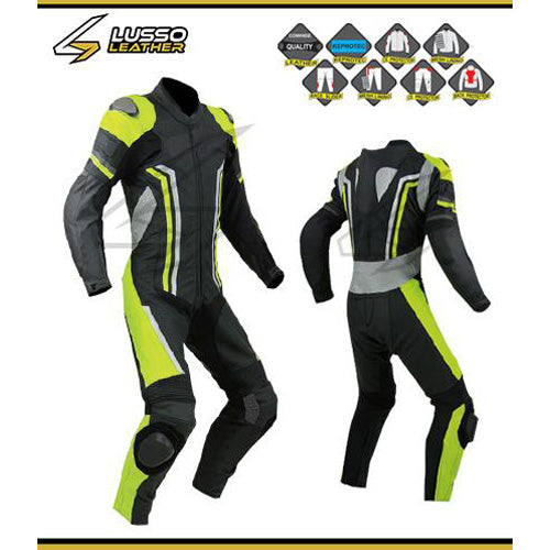 Arlo's motorcycle leather suit