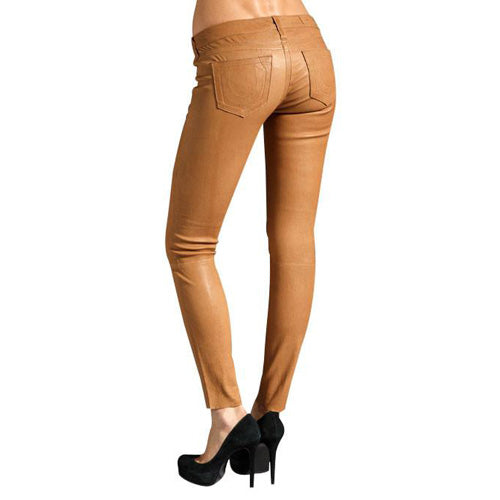Light Tan leather pants (style #10) - Lusso Leather - 2