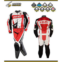 Ducati red, white and black motorcycle leather suit