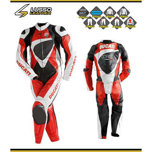 Ducati corse red, white and black motorcycle leather suit