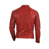 Red moto style jacket with stitching pattern - Lusso Leather - 2