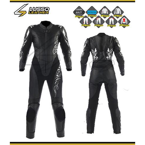 Keeleys black motorcycle leather suit with design