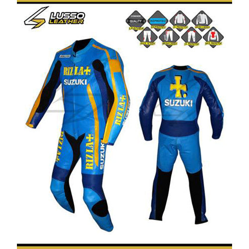 Suzuki Rizla blue and yellow motorcycle leather suit
