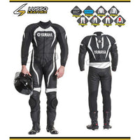 Yamaha's black and white motorcycle leather suit