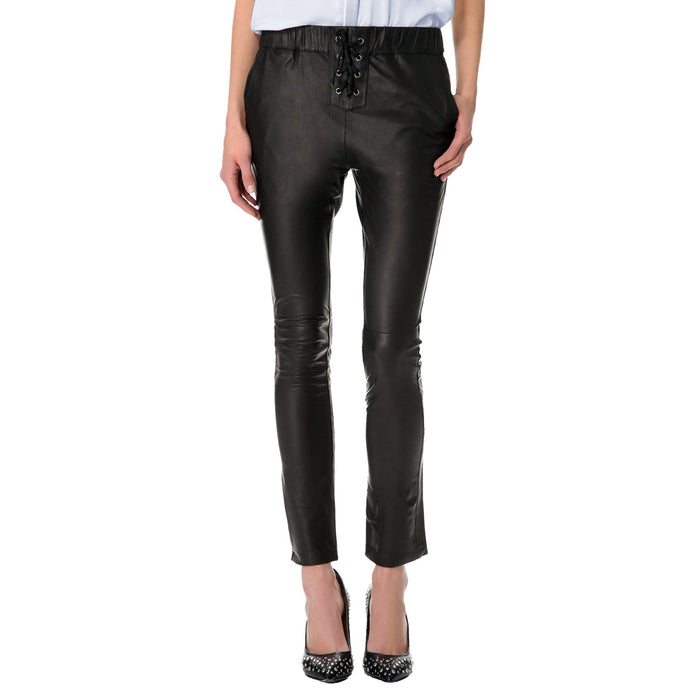 Leather pants with elastic waist and laces (style #12) - Lusso Leather - 1