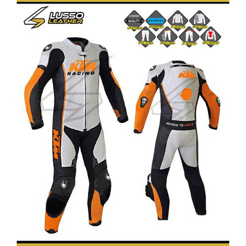 KTM white, black and orange motorcycle leather suit