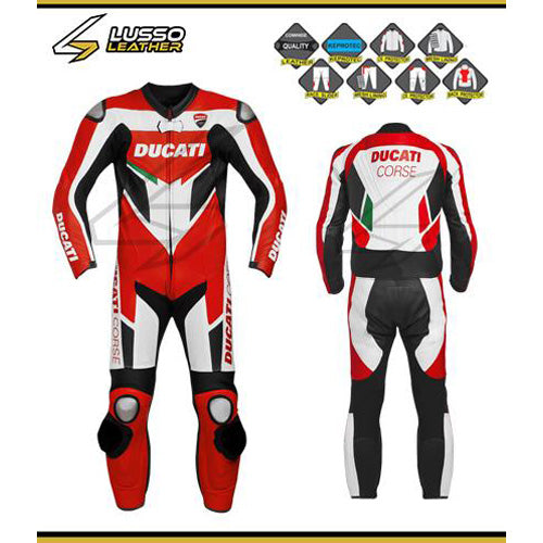 Ducati corse 2 red and white motorcycle leather suit