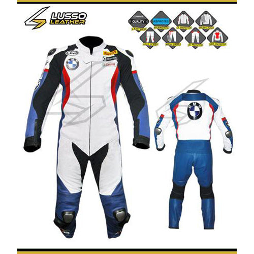 BMW white, red and blue motorcycle leather suit