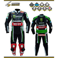 Kawasaki Motocard green and black motorcycle leather suit