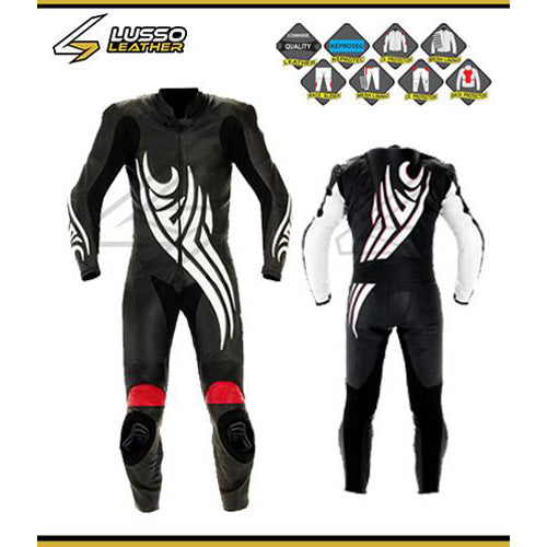 Tribal design black and white motorcycle leather suit