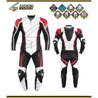 Cote's black, red and white motorcycle leather suit