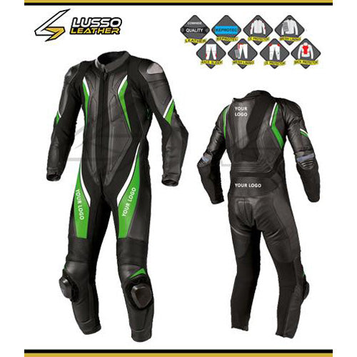 Bogdan's black motorcycle leather suit with green and white stripes