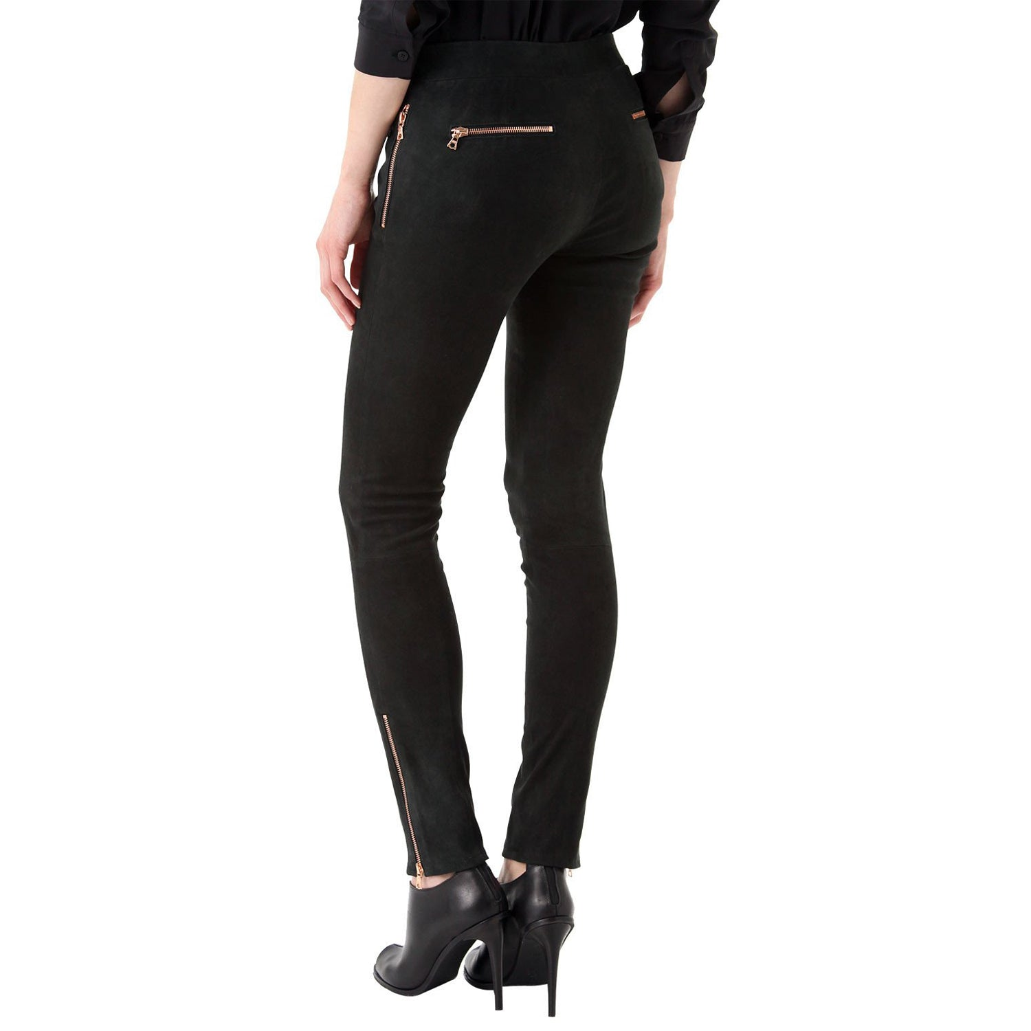 Black Suede leather pants - Lusso Leather - 2