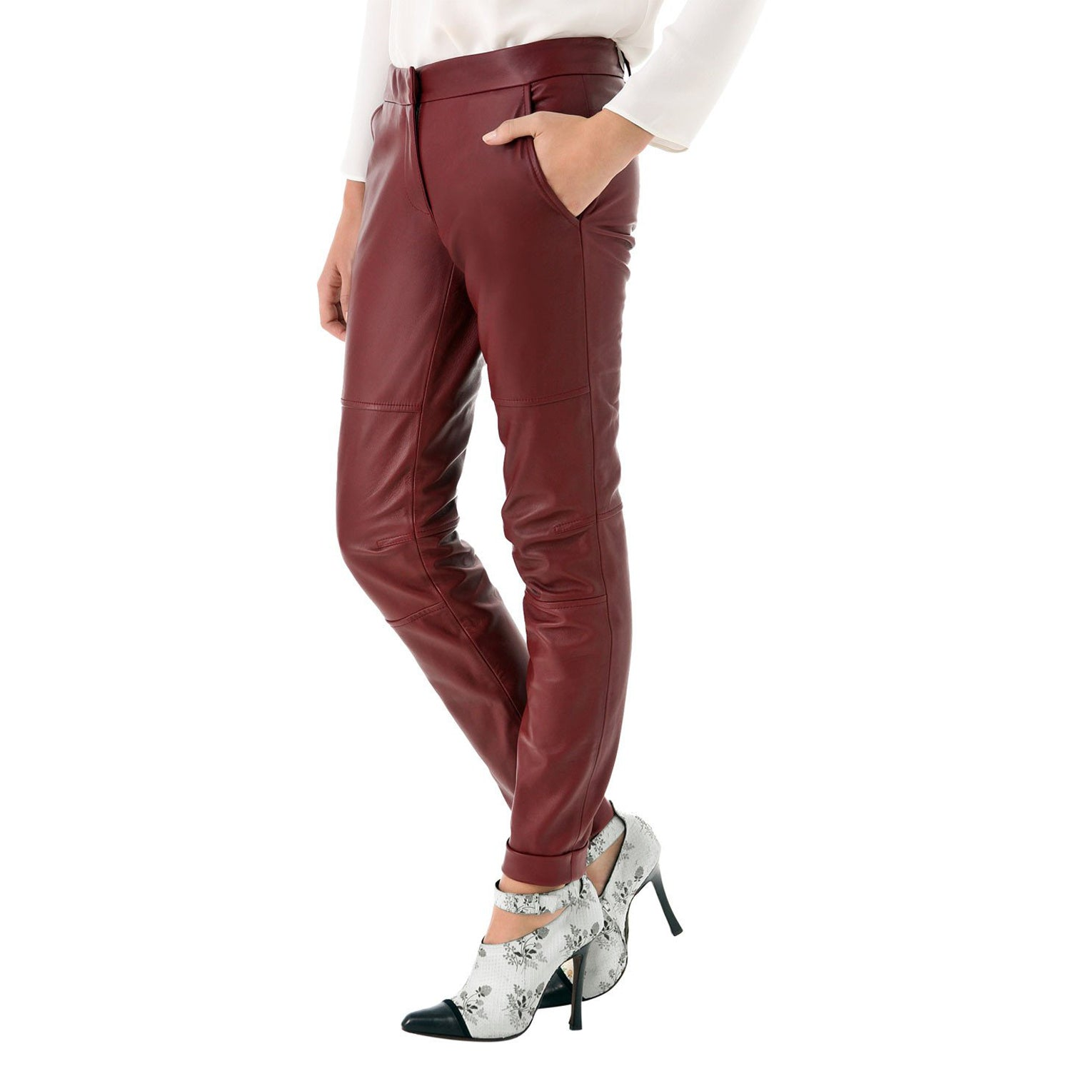 Cherry leather pants with belt (style #15) - Lusso Leather - 1