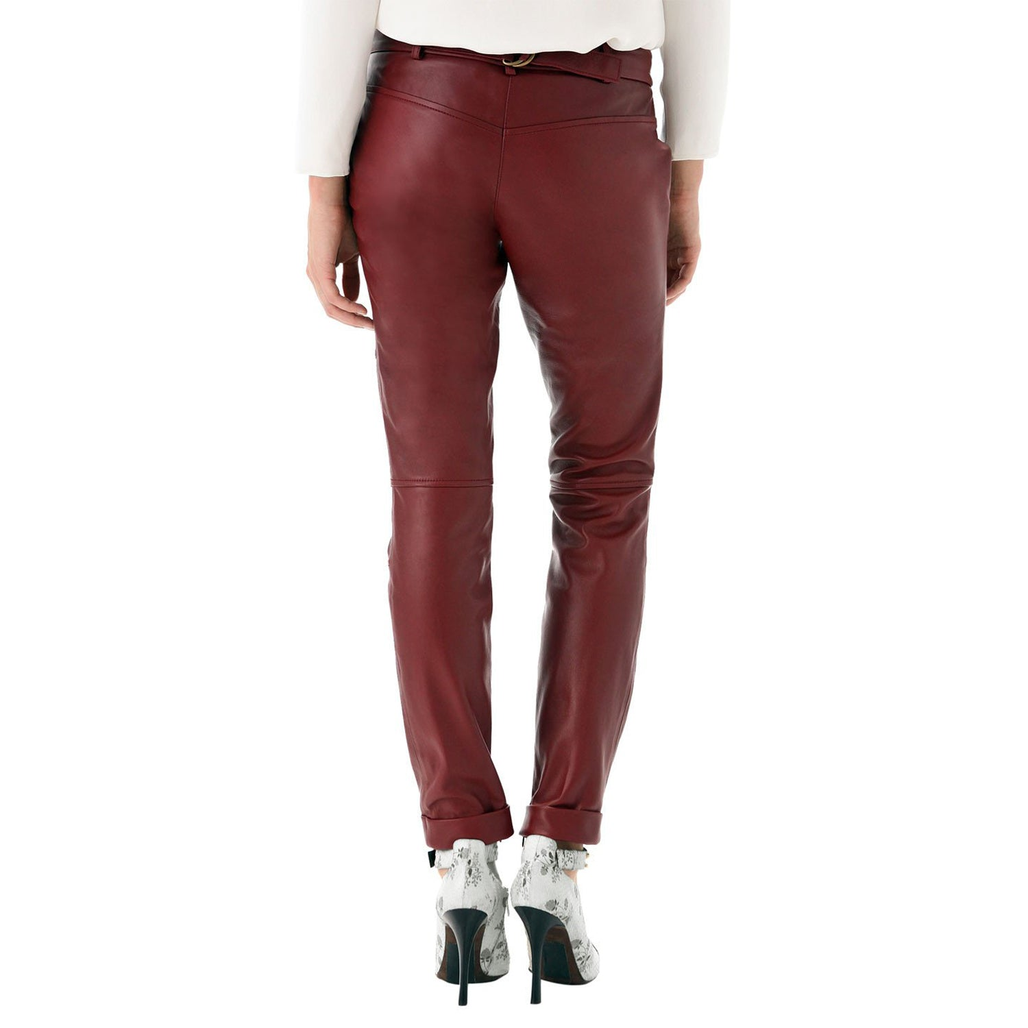 Cherry leather pants with belt (style #15) - Lusso Leather - 2