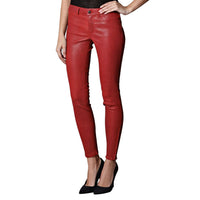 Bright red leather pants (style #16) - Lusso Leather - 1