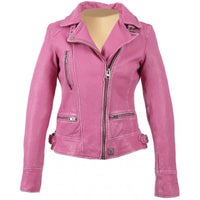 Anorah's fuschia biker style leather jacket