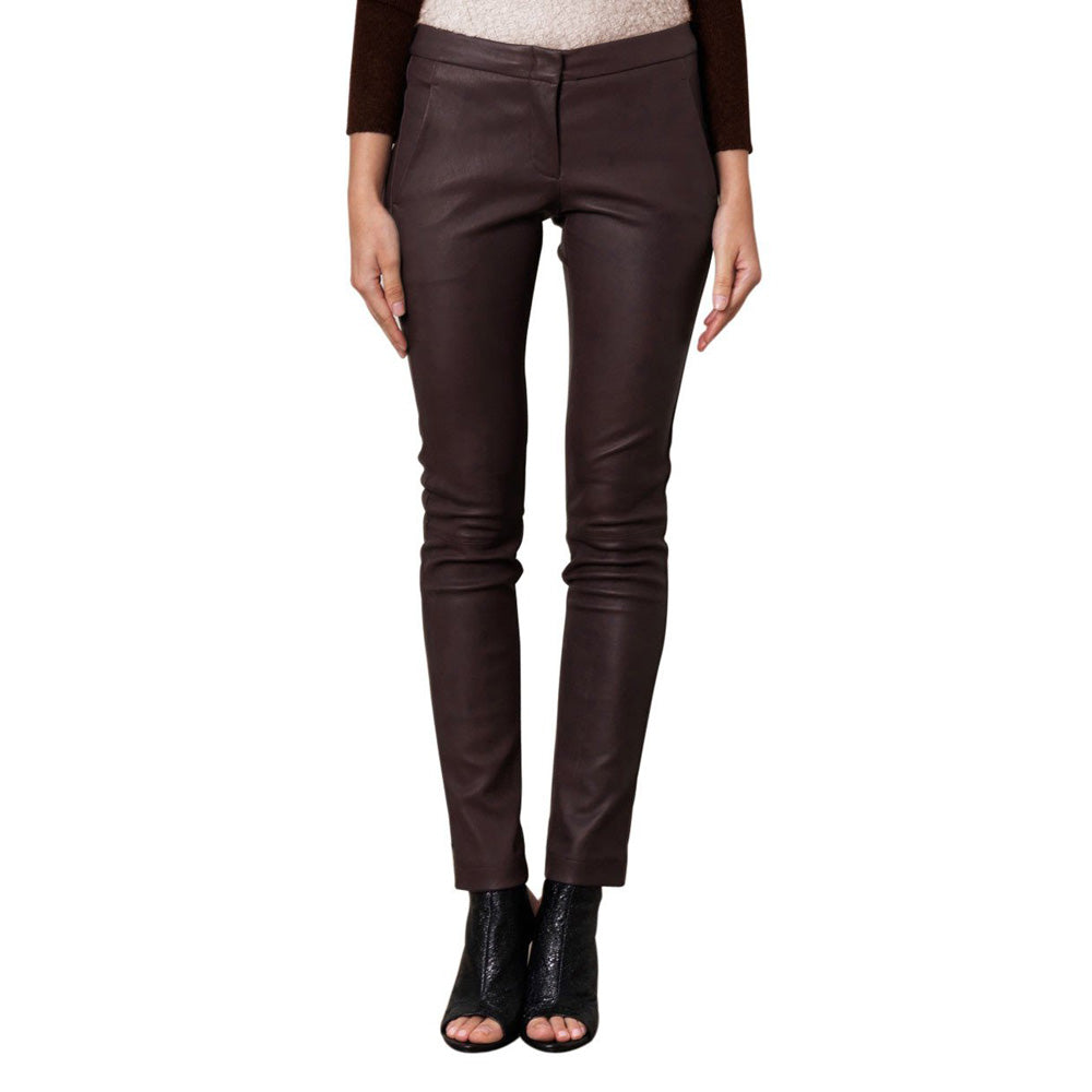 Burgundy leather pants (style #17) - Lusso Leather - 1
