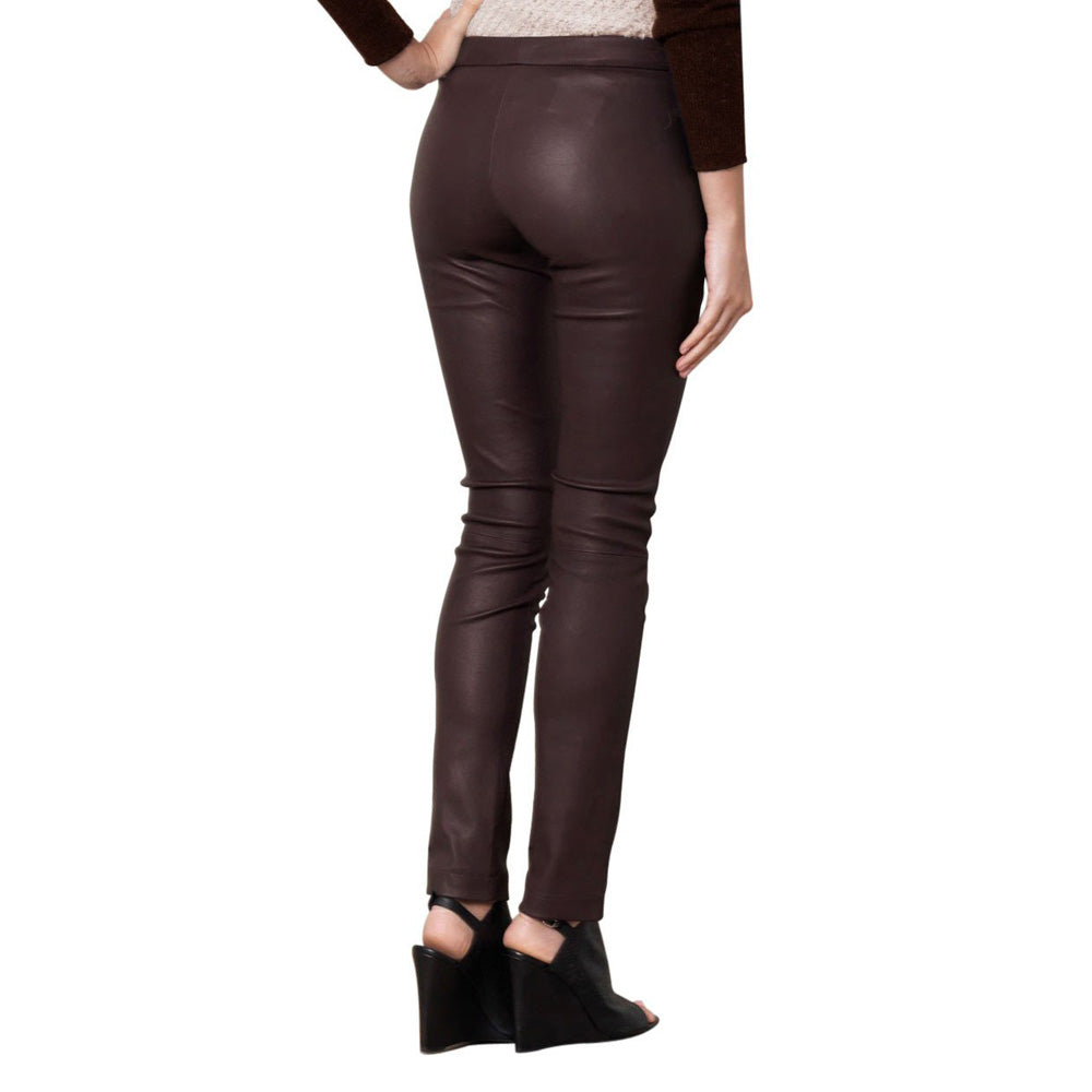 Burgundy leather pants (style #17) - Lusso Leather - 2