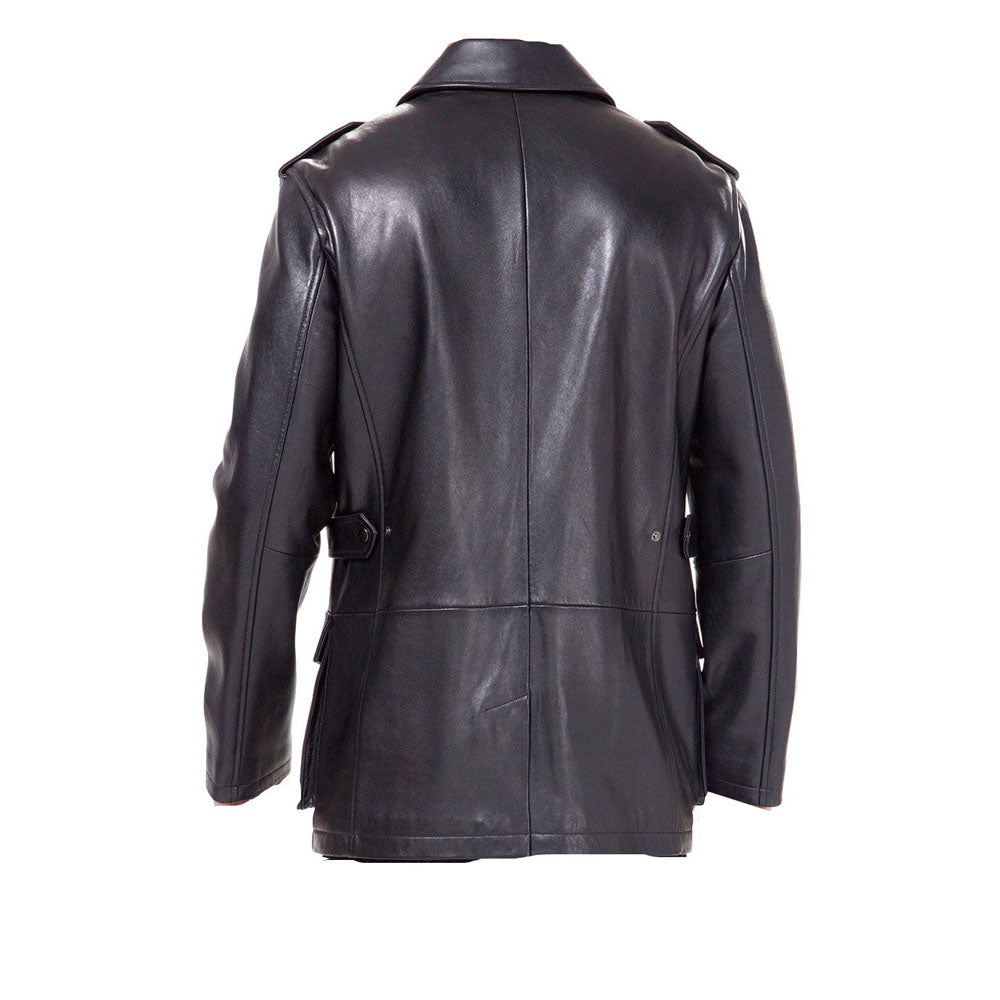 Black leather buttoned up coat - Lusso Leather - 2