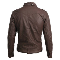 Brown leather jacket with collar belt - Lusso Leather - 2