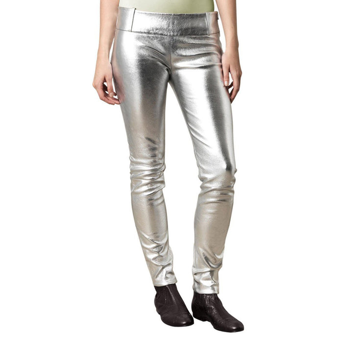 Mettalic Silver leather pants (style #19) - Lusso Leather - 1