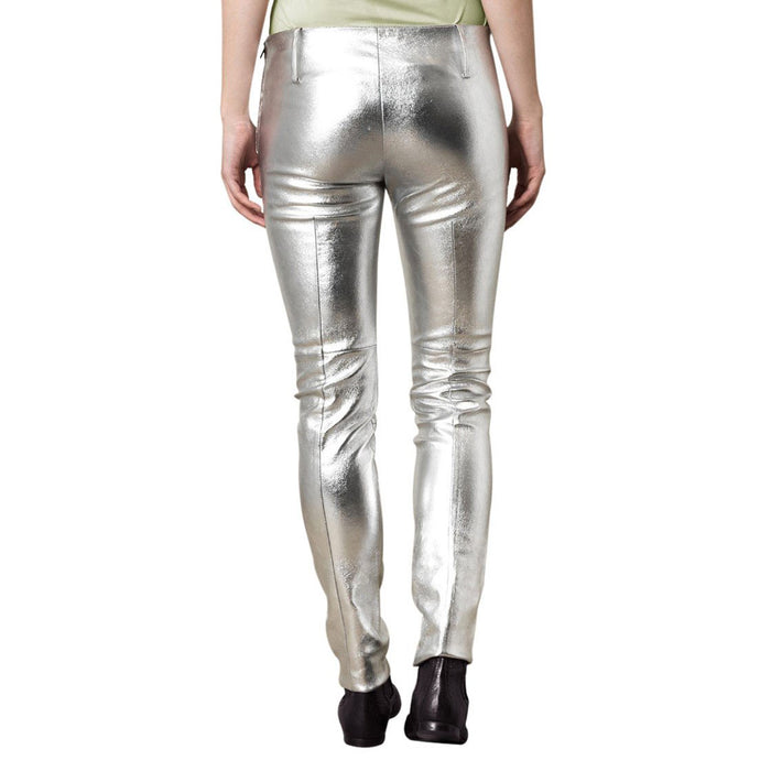Mettalic Silver leather pants (style #19) - Lusso Leather - 2