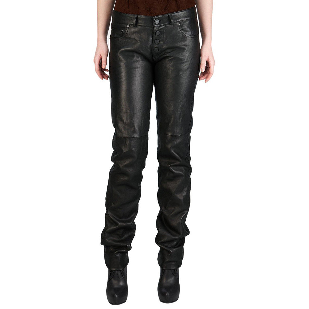 Wide calves leather pants (style #20) - Lusso Leather - 1