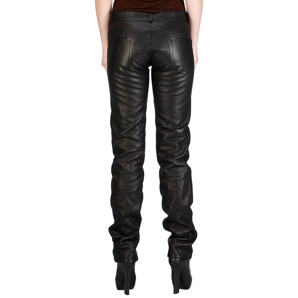 Wide calves leather pants (style #20) - Lusso Leather - 2