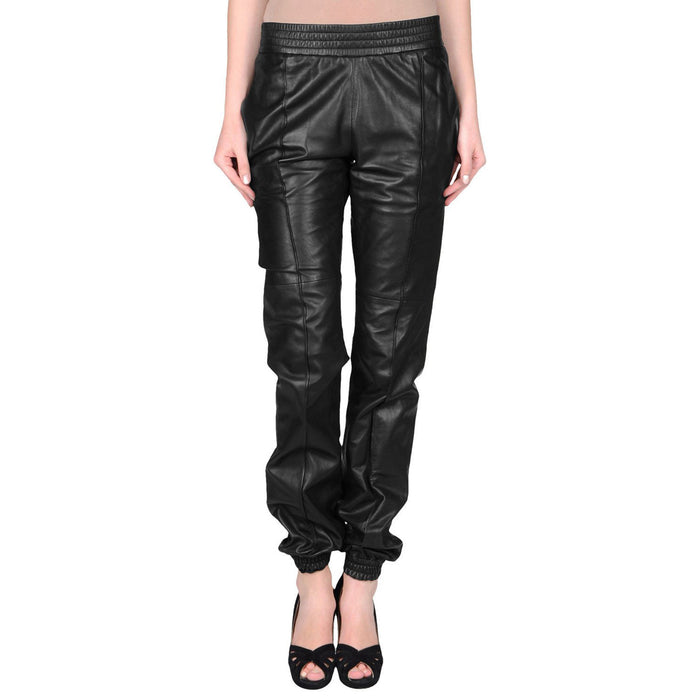Leather pants with elastic waist (style #4) - Lusso Leather - 1